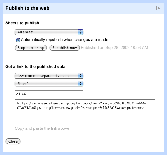 google spreadsheet dialog