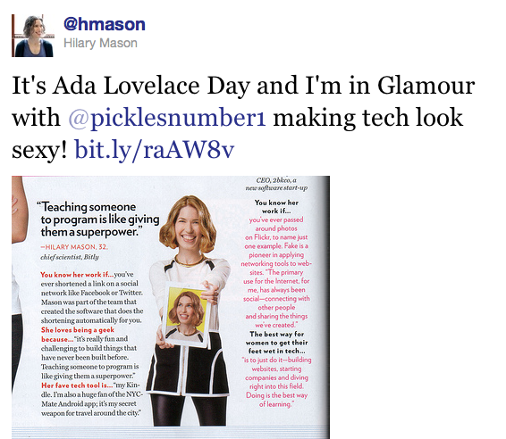 Hilary Mason in Glamour