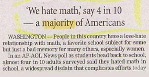 A majority of Americans hate math