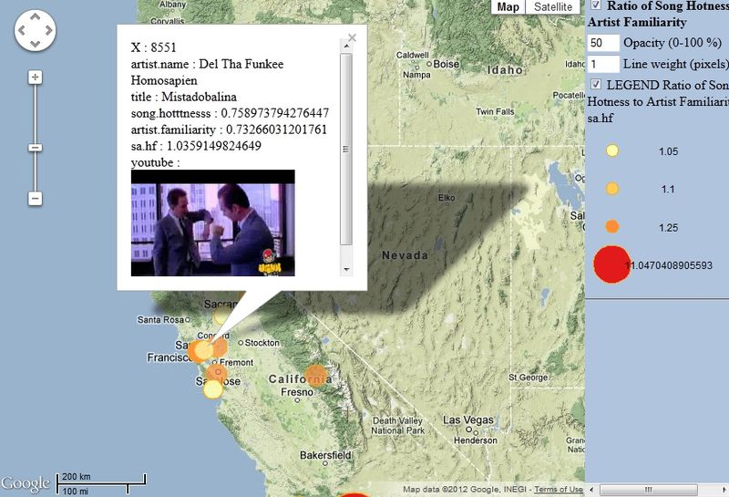 A video map of the hottest songs in the US