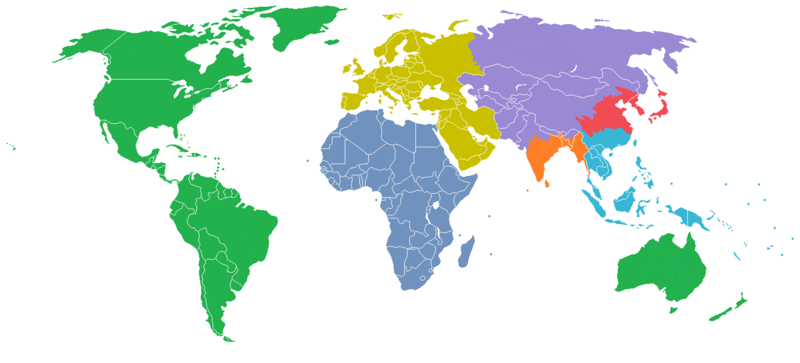 The World Divided into Seven Regions, Each with a Population of One Billion