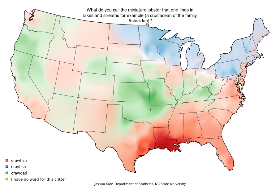 Crayfish Or Crawdad Mapping US Dialect Variations With R - Us map pi