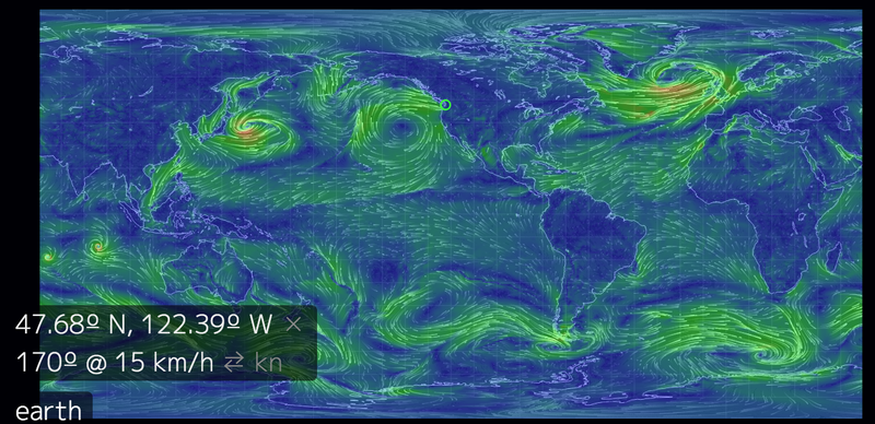 Earth wind projection