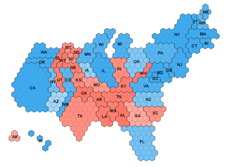 Make Tilegrams In R With TilegramsR Revolutions - Map of the us electoral college votes